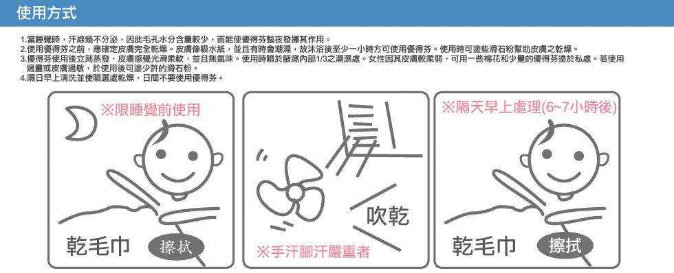 Odaban優得芬止汗噴霧劑使用方式,睡前使用乾毛巾擦拭,手汗腳汗嚴重者請先將欲噴灑部位乾燥後再使用,隔天早上持續保持乾燥處理