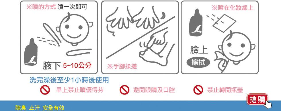 Odaban優得芬止汗噴霧劑使用方式,腋下5~10公分噴1次即可,手腳揉戳搓,臉部以噴在化妝棉上來擦拭,皆在洗完澡後至少1小時之候使用!
